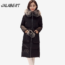 2017 new women long large Fur collar cotton Slim jacket Female Hairball thickening Parkas Big pocket coats overdress