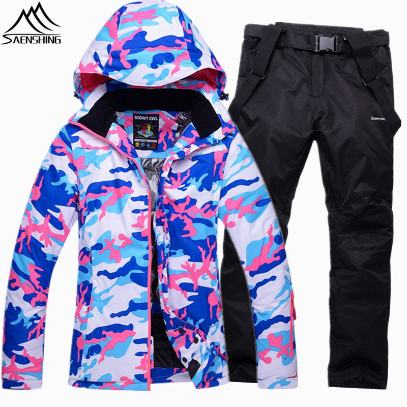 SAENSHING Camouflage Ski Suit Women Waterproof Ski Jacket Snowboard Pants Super Warm Ladies Snowboarding Suits Outdoor Skiing gsou snow brand ski pants women waterproof high quality multi colors snowboard pants outdoor skiing and snowboarding trousers