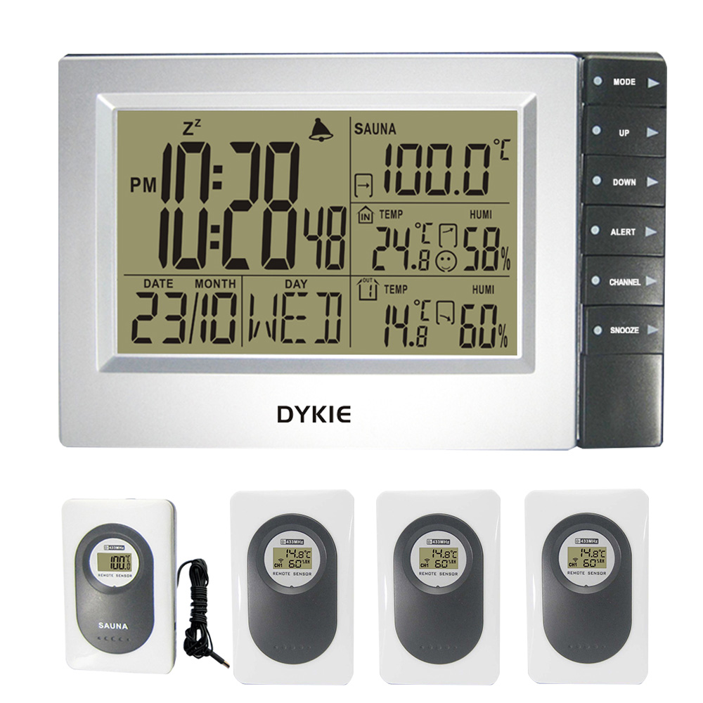 Digital Wireless Weather Station with Indoor Outdoor Thermometer Hygrometer Digital Sauna Temperature Alarm Clock 4 Transmitters
