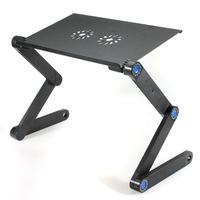 Portable 2 Holes Cooling Laptop Desk Computer Table 360 Folding Laptop Stand Desk Holder With Mouse