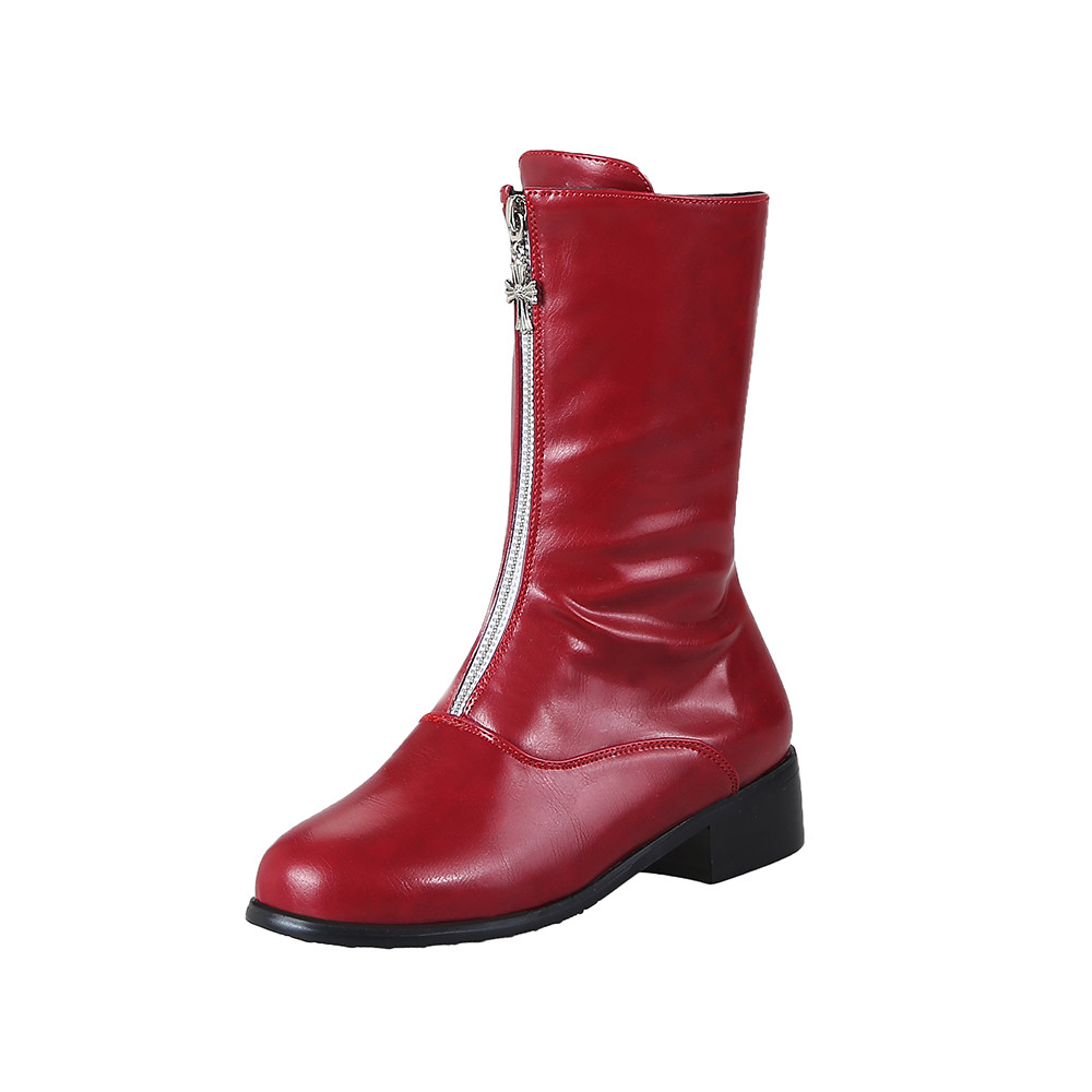 New Fashion European Style Black Ankle Boots Flats Round Toe Platform Thick Heel Zip Martin Boots PU Leather Woman ShoesNew Fashion European Style Black Ankle Boots Flats Round Toe Platform Thick Heel Zip Martin Boots PU Leather Woman Shoes