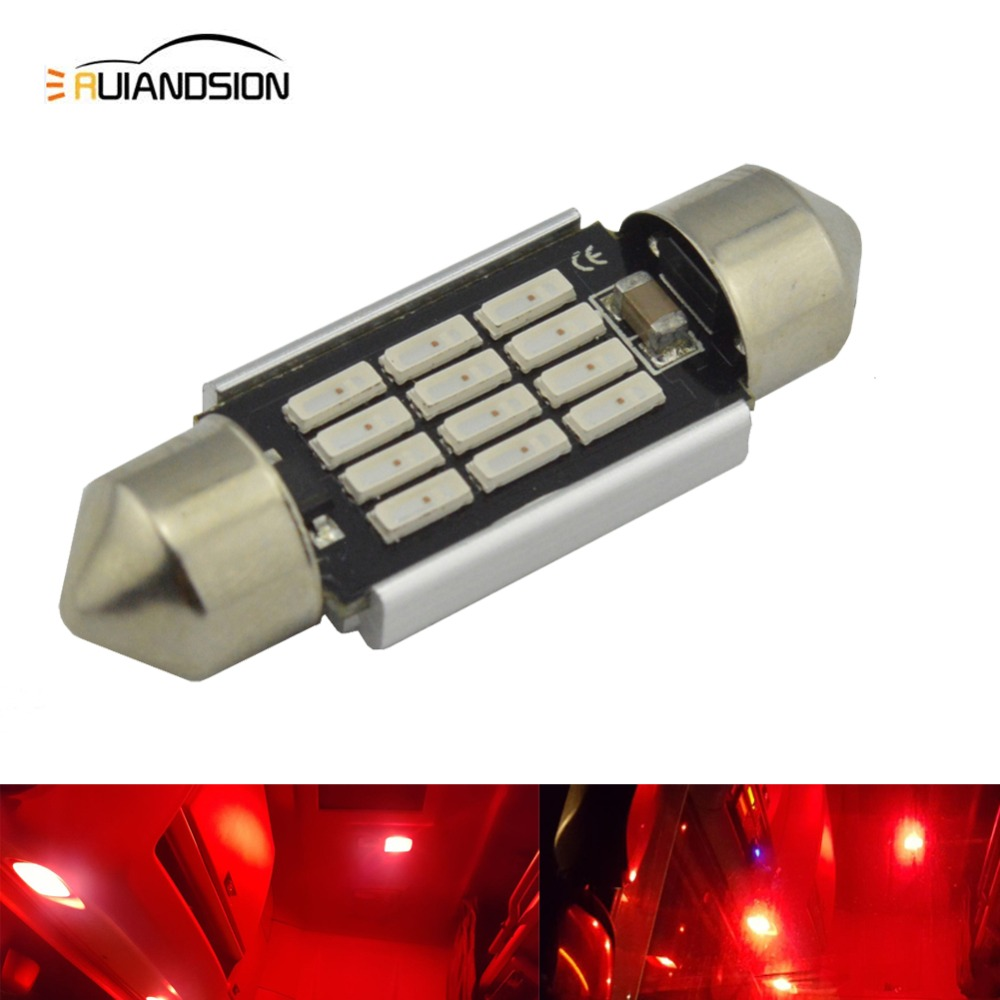 20pcs 31mm 36mm 39mm 41mm 12 SMD 4014 Red Dome Festoon CANBUS No Error Car AC