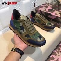 Spring New Camouflage Sneakers Men Breathable Running Shoes Rivet Lace Up Five Pointed Star Outdoor Walking Sport Shoes Big Size