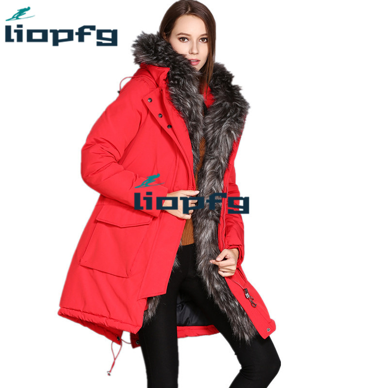 Brand Womens Down Jacket 2018 Winter Ladies Jacket Oversized Fur Collar High-Quality Ladies Long Section Cotton Clothes Parkas