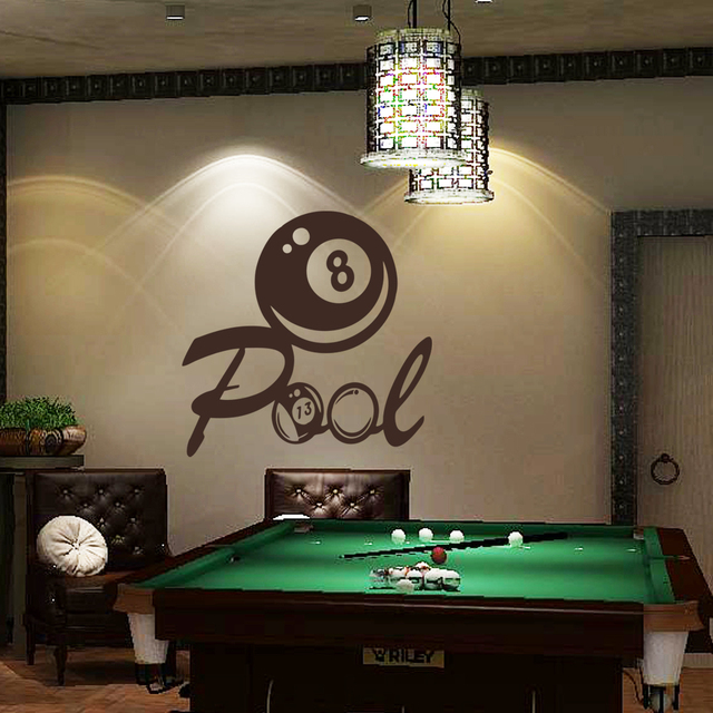 Billiards wall decal vinyl art sticker pool wall decal playroom wall art quote 56cm x56cm