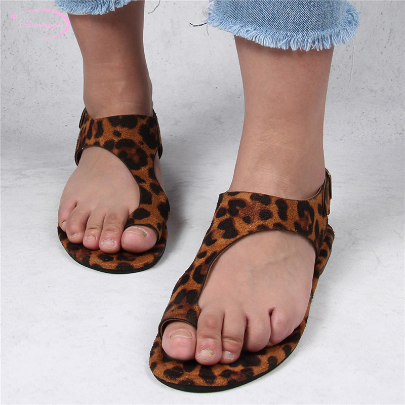 European casual style summer flip flop sandals fashion belt buckle yellow brown leopard print black flat with women's shoes
