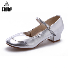 Square Dance Shoes Ladies Modern Salsa Tap Latin Tango Dancing Shoes For Women Jazz Leather Frosted Aerobics Shoes High Quality