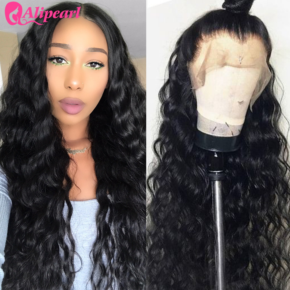 Human Hair Lace Wigs 2019 Fashion Alipearl Loose Deep Wave Lace Front Human Hair Wigs 130 150 180 250 Density Pre Plucked Brazilian Hair Wigs Remy Natural Color