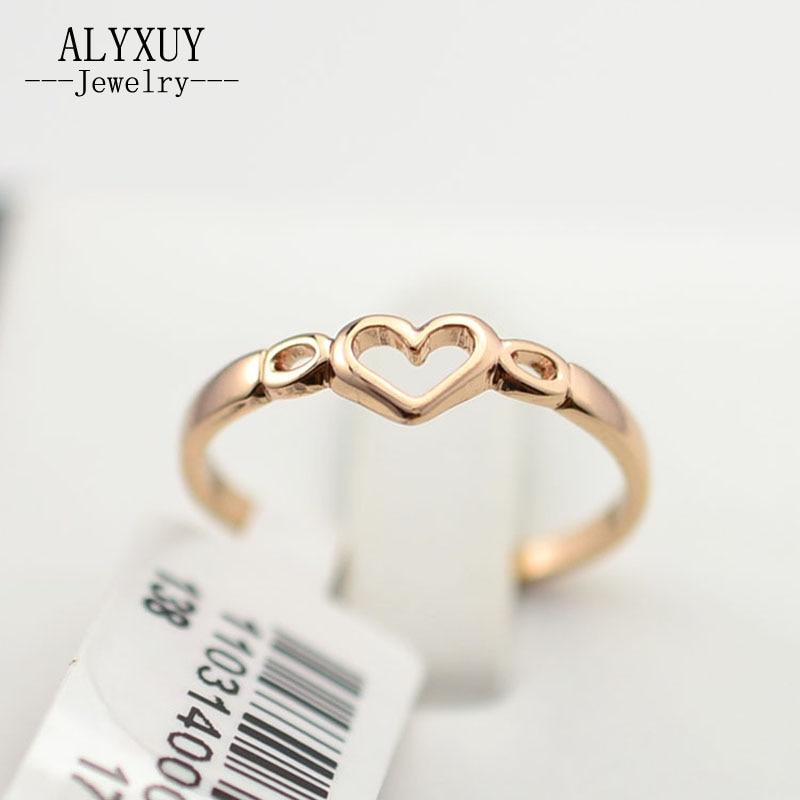 ΞNueva joyería de oro de color anillo de dedo del corazón para las ...