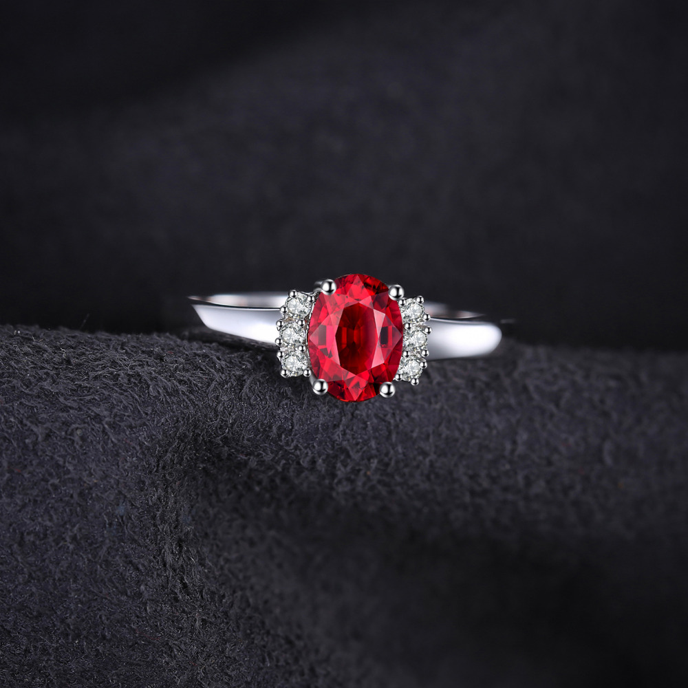 SmykkerPalace 1.1ct Oval Natural Red Garnet Ring 100% Ægte 925 - Smykker - Foto 4