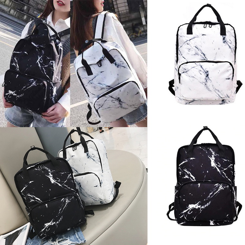 Monerffi Backpacks Shoulder-Bag Campus Marble-Pattern Travel Large-Capacity Girls Student