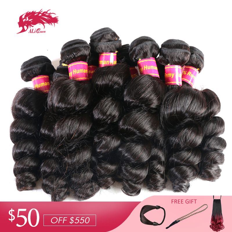 Ali Queen Hair Brazilian Loose Wave Human Hair Bundle 10Pcs Lot Natural Color 12-30inches Hair Weaving Extensions Remy Hair