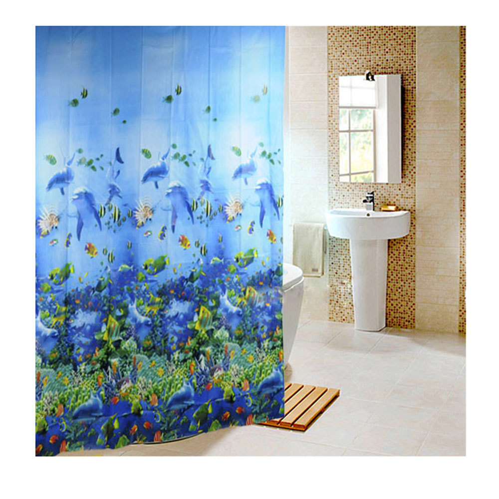 Blue curtains for bathroom - 2017 Hot Bathing Curtain Sea Life Waterproof Fabric Bathroom Shower Curtain Light Blue 1 8 X1