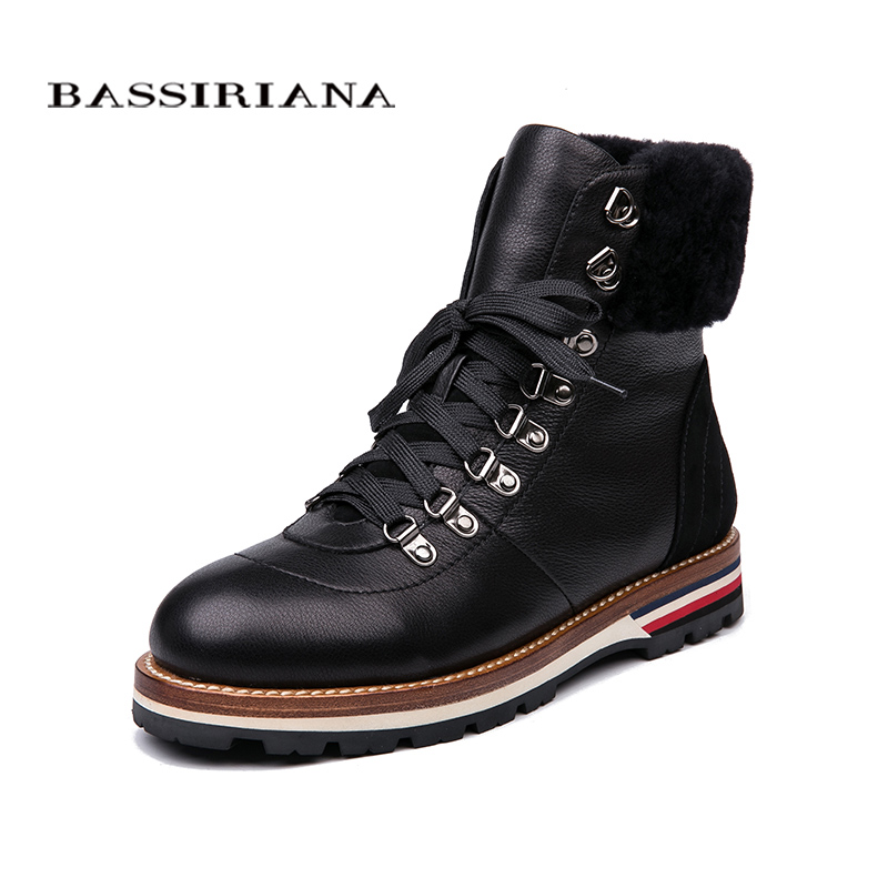 BASSIRIANA 2018 new winter ankle women s boots natural leather flat women s boots size 35