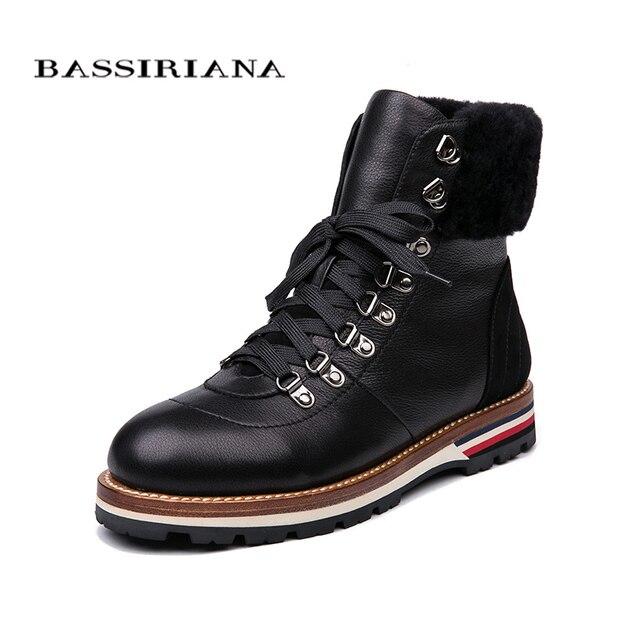 BASSIRIANA/2018 новые зимние ботильоны женские ботинки из натуральной кожи без каблука женские ботинки размер 35-40 Бесплатная доставка