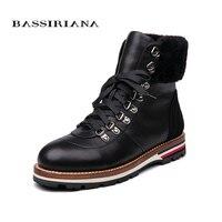 BASSIRIANA/2018 новые зимние ботильоны женские ботинки из натуральной кожи без каблука женские ботинки размер 35 40 Бесплатная доставка