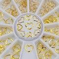 3D Смешанные 3 размера золотые полые сердечки рамка формы заклепки сплав ногтевого дизайна драгоценные камни наклейки Стразы колесо DIY Совет...