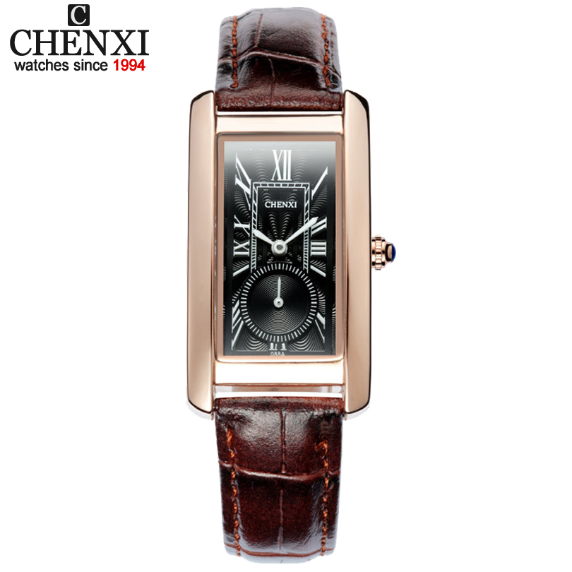 CHENXI Women Quartz-Watch Classic Square Dial Girl Watches Leather strap Ladies and Wife Roman Numerals Calibration Wristwatches