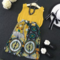 new girls 2017 clothes set sleeveless yellow shirt with skirt chiffion  summer set for girls nice high quality children clothes