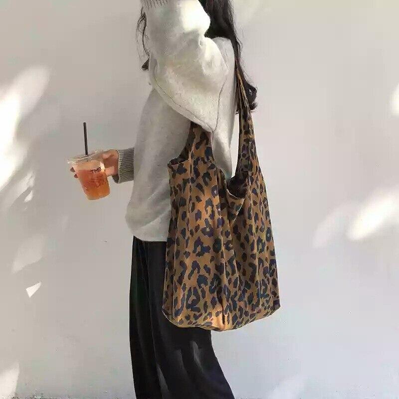Leopard Corduroy Shopping Bags Fashion Cross body Bag For Women 2020 reusable Shoulder Messenger Bags Totes Handbags Clutch(China)