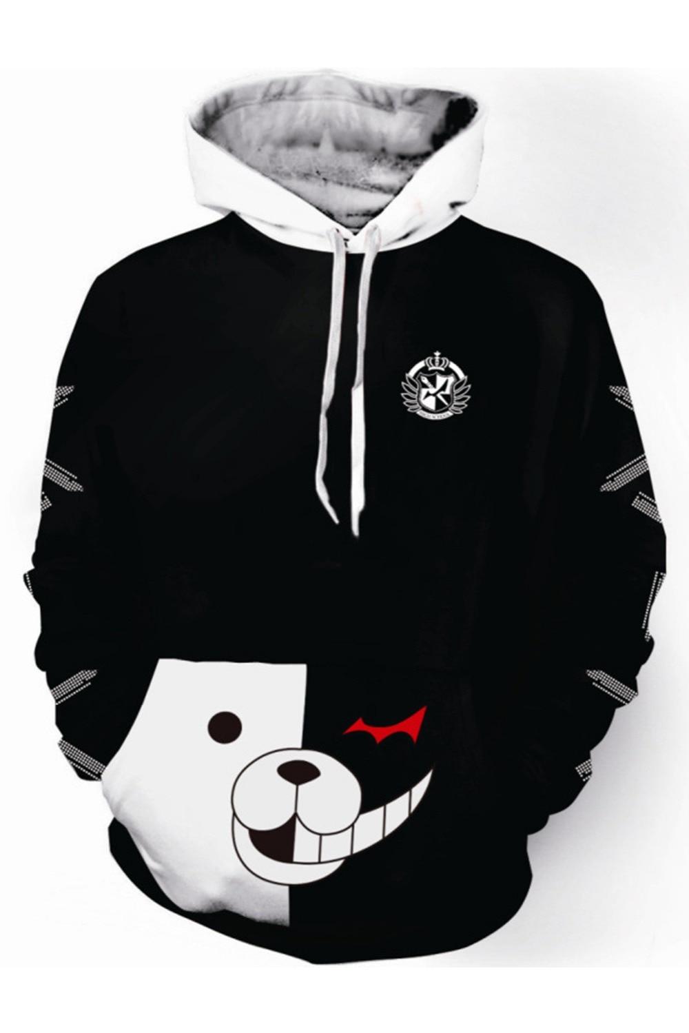 Danganronpa Monokuma Cosplay Hoodie Monokuma Anime Hoodie Black and White Bear Long Sleeve