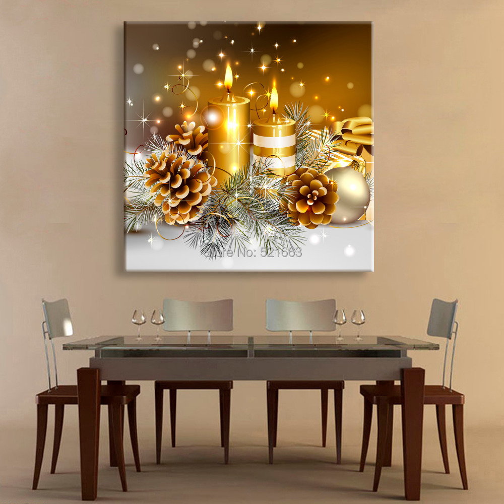 Led Wall Light Flashing: Free Shipping Stretched Canvas Prints Christmas Candle LED