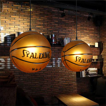 Novelty  Basketball Glass Led Pendant lights,Children's lampen Led Pendant lamp for bar Restaurant Kid living room e27 for Deco
