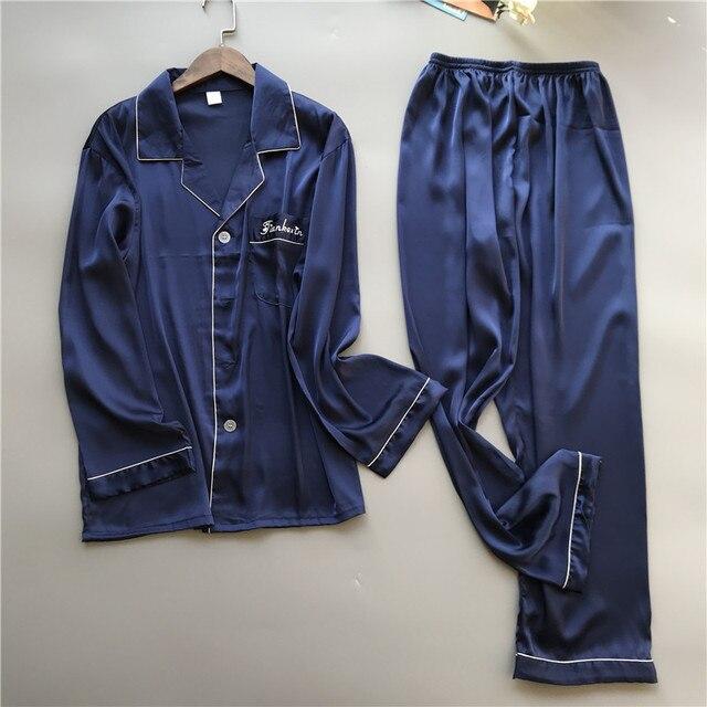 2019 גברים פיג מה סטי עם מכנסיים משי פיג מה אביב קיץ הלבשת Pyjama אלגנטי לילה ללבוש Nightsuits