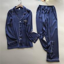 2019 piżama męska zestawy z spodnie jedwabne piżamy wiosna lato piżamy elegancka koszula nocna Nightsuits