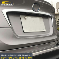 GELINSI Rear License plate frame up trim Stickers Covers outside Accessories For Toyota 2018 C HR Auto Car