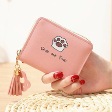 Ladies' small wallet cute little bear zipper female student short coin purse mini bag PU leather 2 fold cute cat claw стоимость
