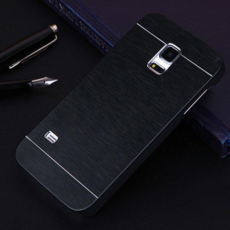 Para samsung s5 mini case de aluminio del metal del cepillo duro case para hoesj