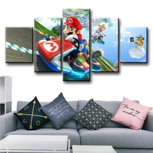 5 Piece Game Poster And Prints Art Mario Kart 8 Cartoon Pictures HD Wall Paintings Modern Decorative Canvas Art For Home Decor