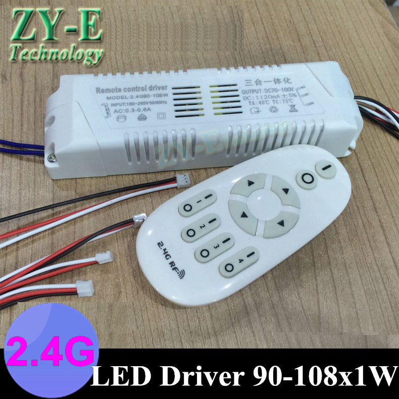 2set 108W 220v LED driver outside  intelligent 2.4G Wireless RF Remote Controller lights driver block shap90-108w ceiling driver 1x high quality 90 108w 2 chanel 2 4g cct adjustable constant voltage led driver 2 4g led remote controller free shipping