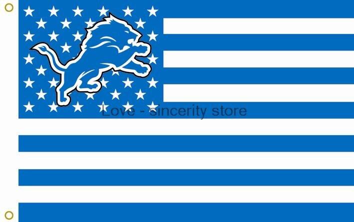 Detroit Lions Nfl Car Flag Light Blue
