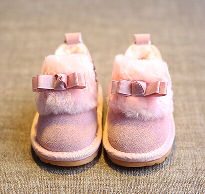 Baby Girls Rainbow Stripe Bowknot Snow Boots Soft Sole Anti-Slip Crib Shoes Toddler Boots