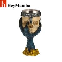HeyMamba 3D Skull Wine Goblet Stainless Steel Beer Steins Retro Drinking Wine Glasses Whiskey Cup