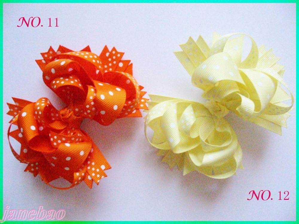 free shipping 50pcs  4.5'' polka dot Hair Bow Girl Funky boutique bows Layered Hairbows-in Hair Accessories from Mother & Kids    3