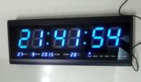 Blue,Free shipping!Digital clock,60cm*28cm,Led electronic calendar,alarm clock of head luminous mute brief fashion digital clock