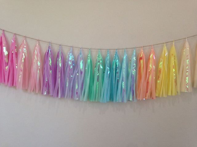 10ft Unicorn Pastel Garland Of 20pcs Tassels 60sheets Iridescent Chair Banner
