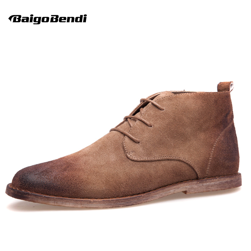 New Nubuck Leather Oxford Lace Up Formal Dress Boot Fashion Mens Round Toe Chukka Winter Shoes