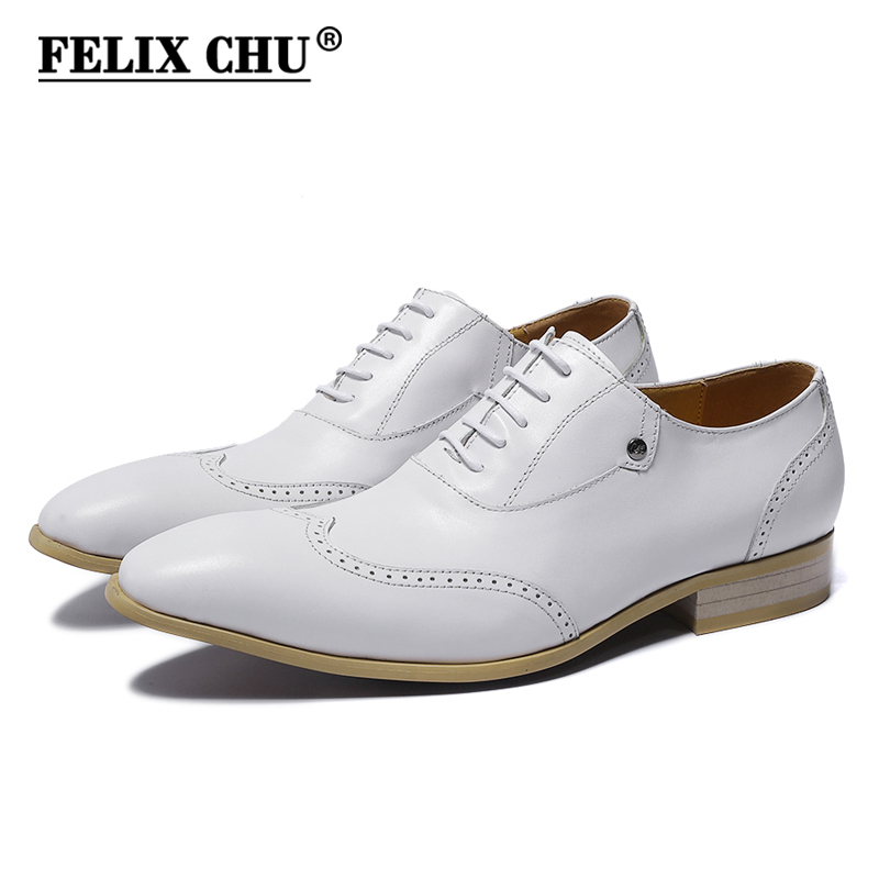 FELIX CHU Genuine Cow Leather Men Wedding Dress Shoes Lace Up White Brogue Oxford With Wingtip Detail Size 39-45 #185-810 strappy dress with lace up detail