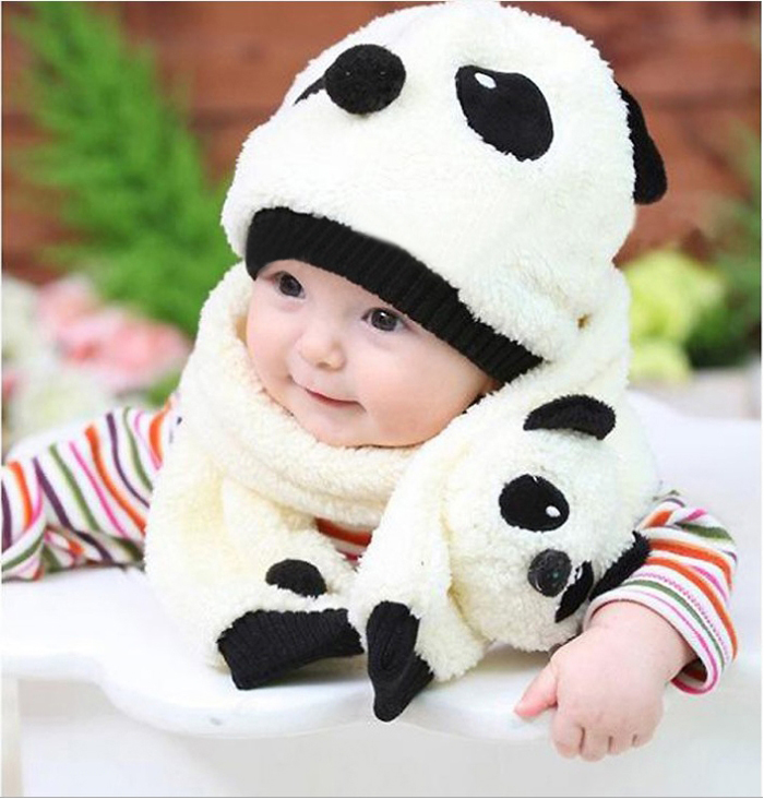 773f0c34263 4 Colors Winter Baby Girl Warm Cute Cartoon Panda style Hat Beanie Two  piece hat scarf Set The Panda Imitation Lambs Cap Shape-in Hats   Caps from  Mother ...