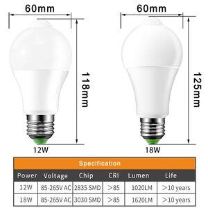 Image 3 - E27 B22 Smart Led lampen Licht 220V 110V motion Sensor 12W 18W LED Lampe Körper induktion auto turn on/off mit PIR motion detection