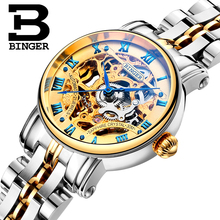 Switzerland luxury Women's watches BINGER brand Hollow Out Mechanical  Wristwatches sapphire full stainless stee clockl B-5066L2