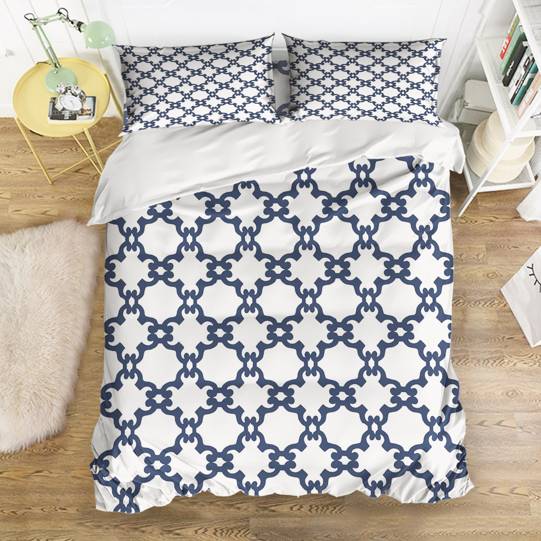 Us 116 86 30 Off Charmhome Geometric Pattern Bedding Sets 4pcs Navy Blue White Duvet Cover Bed Sheet Pillowcases For Kids Free Shipping In
