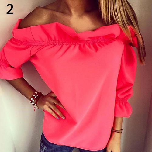 Womens Casual Fold Flat Collar Pure Color T-shirt Fashion Sexy Off Shoulder Top