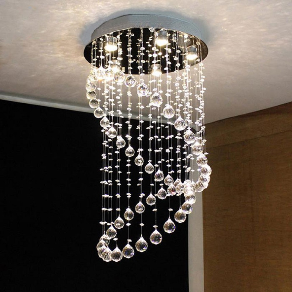 D50*H80cm Round Crystal Chandelier Lighting Newest Simple Fashion Crystal Hanging Lamp Fixtures for Dining Room Cafe Hotel
