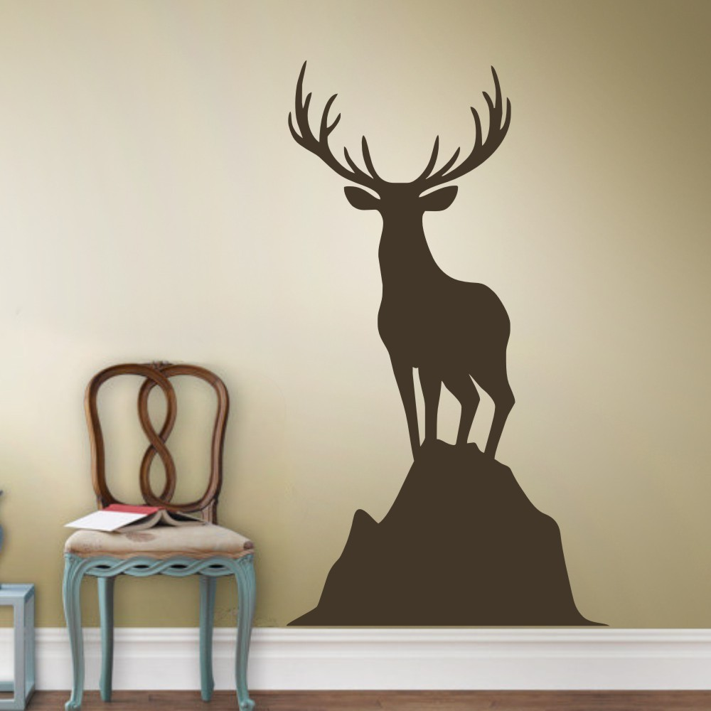 Elk deer vinyl wall decal caribou standing on a rock harvest wall elk deer vinyl wall decal caribou standing on a rock harvest wall sticker art moose home decoration wall decor mural 64h x37w in wall stickers from home amipublicfo Image collections