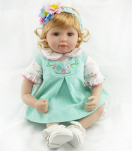 22″ Soft Vinyl Exquisite Blue Eyes Wispy Blonde Hair Lifelike Reborn Toddler Baby Doll Holiday Gift Doll in Light Green Dress